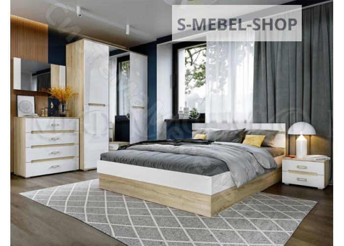 Модульная спальня Ким - Белый глянец/Дуб сонома. До 14 модулей
