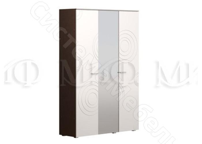 Модульная спальня Ника - Шкаф 3-х ств. Белый глянец/Венге