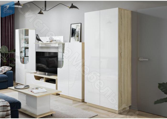 Гостиная модульная Аура - Дуб Сонома/Белый глянец. 6 модулей