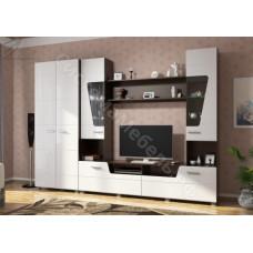 Модульная гостиная Моника - Венге/Белый глянец. До 3 модулей
