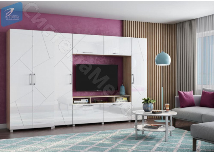 Модульная гостиная Марко - Дуб сонома светлый/Белый глянец. До 3 модулей