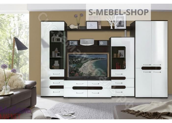 Гостиная Соренто 1 - Венге/Белый глянец. 2 модуля