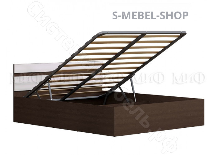 Модульная спальня Ника - Кровать 1.6. с подъемным механизмом. Белый глянец/Венге