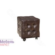 Пуфик с диванной опорой - Темная кожа