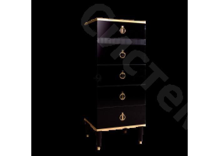 Модульная спальня Римини соло - Комод узкий с планкой. Черная/золото/серебро