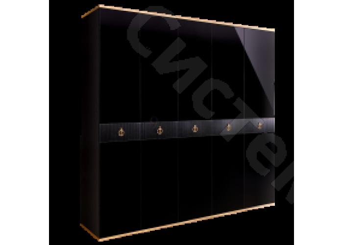Модульная спальня Римини соло - Шкаф 5-ти дв. без зеркал. Черная/золото/серебро