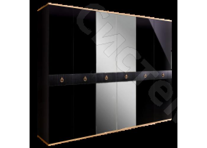 Модульная спальня Римини соло - Шкаф 6-ти дв. с зеркалами. Черная/золото/серебро