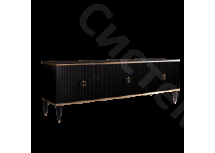 Модульная гостиная Римини соло - Тумба для теле- и радиоаппаратуры(3 двери).Черная/серебро/золото