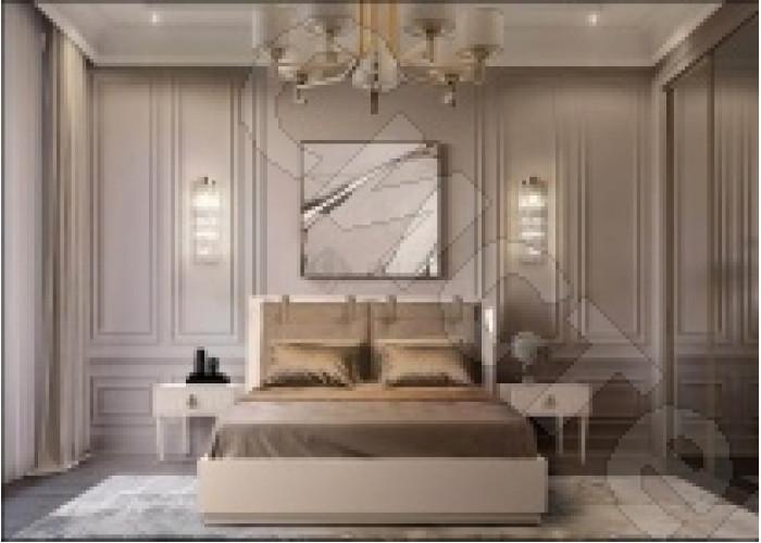 Модульная спальня Римини - Кровать 2-х спальня (1,6 м) с подъемным механизмом. Латте/серебро/золото