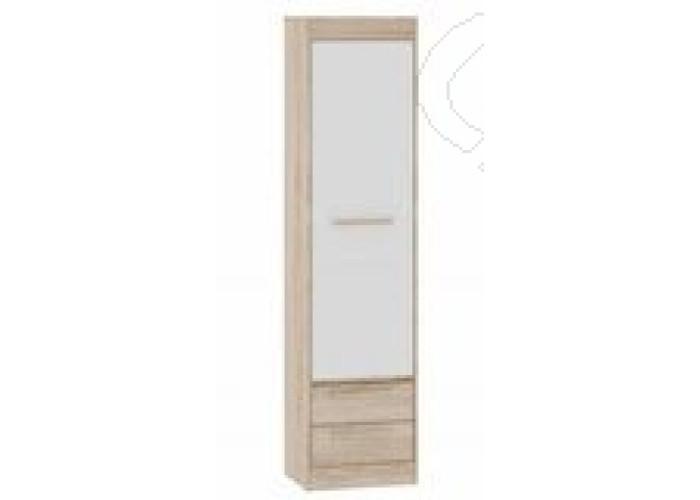 Спальня Оксфорд - Шкаф пенал 1. Дуб сонома/Белый глянец