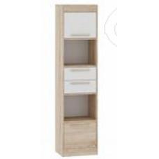 Спальня Оксфорд - Шкаф пенал 2. Дуб сонома/Белый глянец