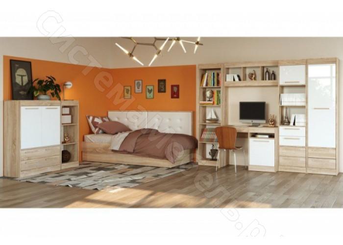 Спальня модульная Оксфорд - Дуб сономаБелый глянец. До 13 модулей