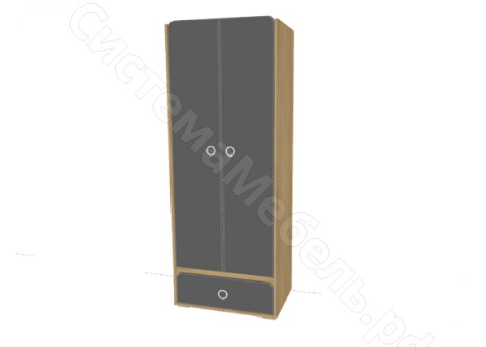 Детская Скай - Шкаф 2-х створчатый N4. Графит/Дуб бунратти