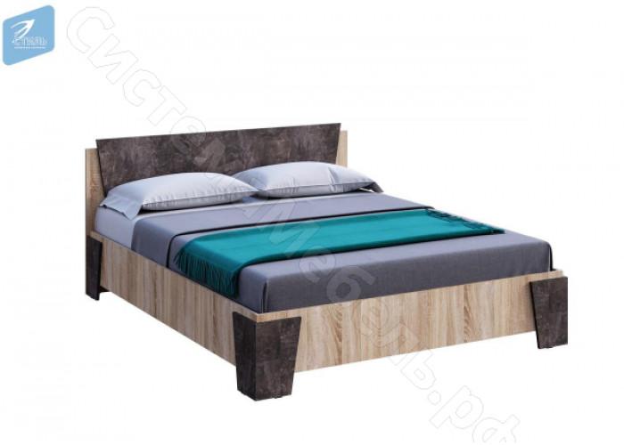 Спальня Санремо - Кровать двухспальная. Дуб сонома/Ателье темное
