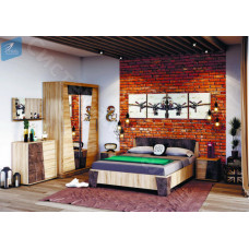 Модульная спальня Санремо - Дуб сонома/Ателье темное. 4 модуля