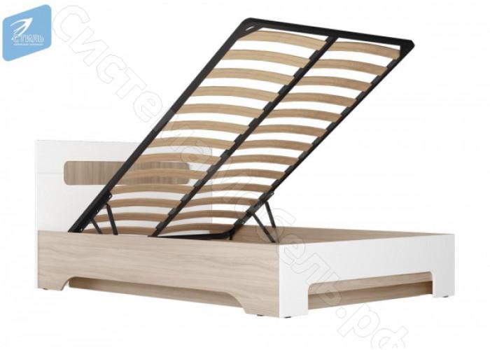 Спальня Палермо 3 - Кровать 1,4 м с подъемным механизмом. Ясень шимо светлый/Белый