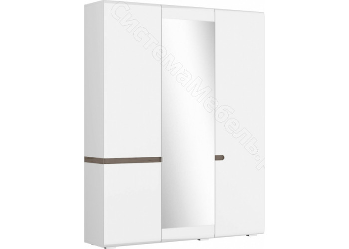 Спальня Ультра - Шкаф 3-х ств 540. Белый/Белый глянец