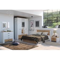 Спальня Оксфорд -Белый/Дуб золотой крафт. 4 модуля
