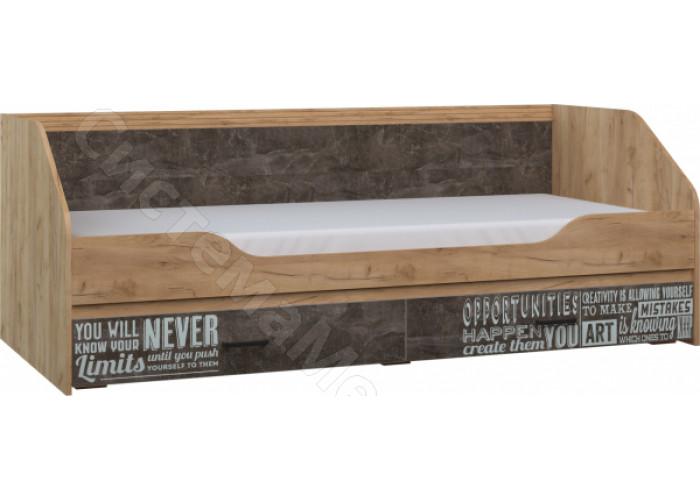 Спальня Ральф - Кровать с ящиками фотопечать. Дуб золотой крафт/Ателье темное