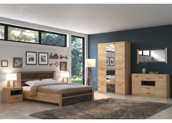 Спальня Ральф - Дуб золотой крафт. 5 модулей