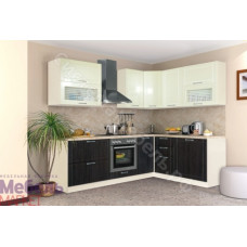 Кухня Шанталь 3 - Жемчуг глянец/Шелк венге. До 33 модулей
