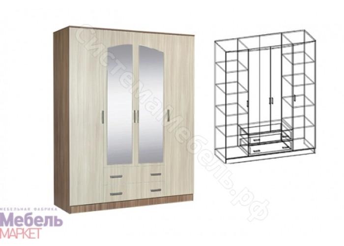 Спальня Светлана - Шкаф распашной 4-х створчатый комбинированный с зеркалами. Ясень Шимо Темный/Ясень Шимо Светлый