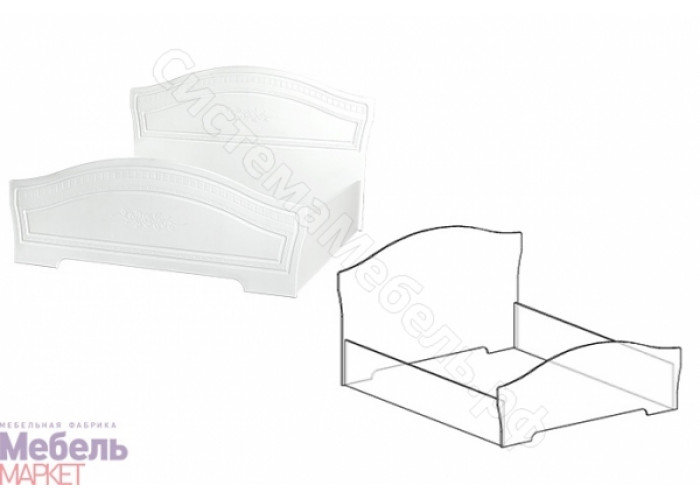 Спальня Шарлота - Кровать 1,6 м. Белая/Скол Дуба белый