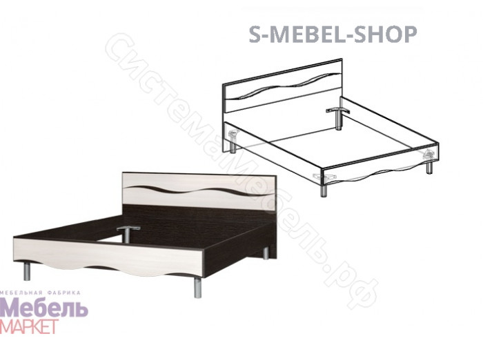 Спальня Гардония - Кровать на 1400 мм. Венге/Дуб молочный