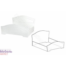 Спальня Шарлота - Кровать 1,4 м. Белая 701/Скол Дуба белый