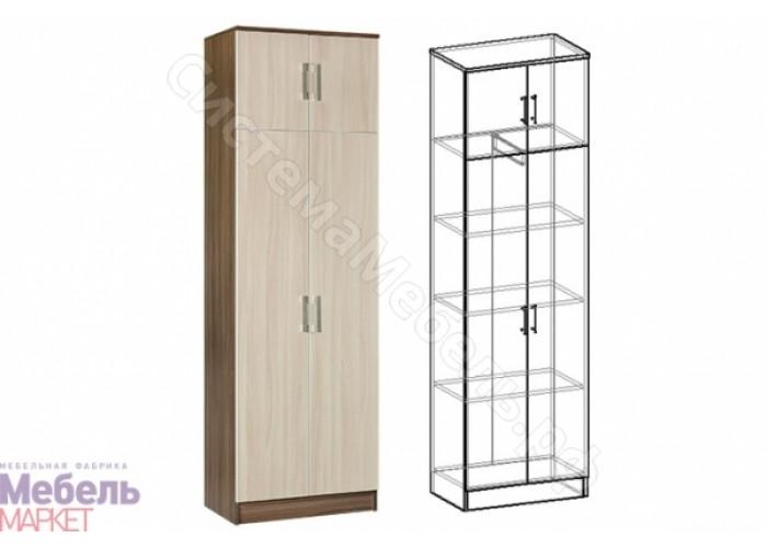 Прихожая Машенька - Шкаф 2-х дверный комбинированный. Ясень Шимо темный/Ясень Шимо светлый