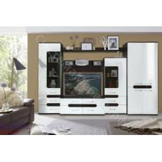 Гостиная модульная Соренто 1 - Венге/Белый глянец. До 2 модулей