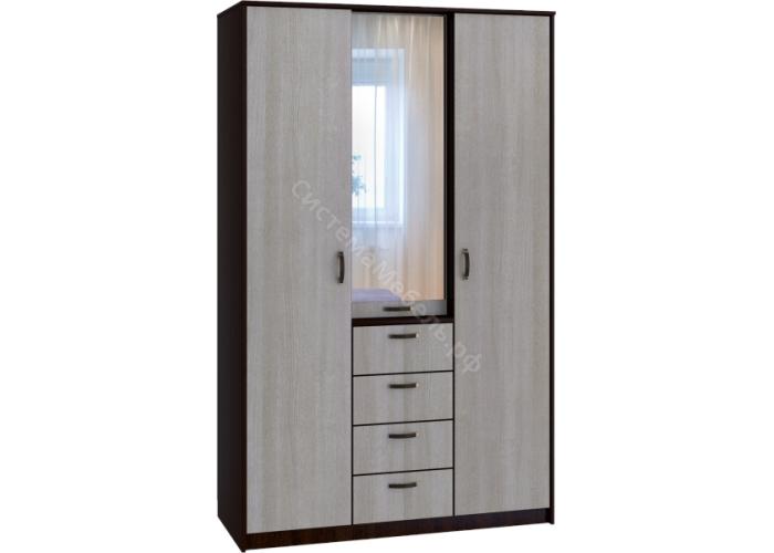 Шкаф 3-х дверный 4-ящика - Беленый дуб/Венге