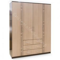 Шкаф 4-х дверный 4 ящика с рисунком - Венге/Беленый дуб