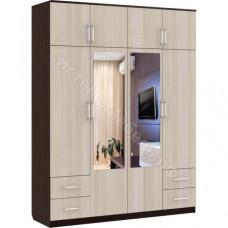 Шкаф 8-дверный 4 ящика - Венге/Беленый дуб