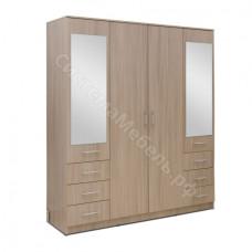 Шкаф 4-х дверный 6 ящиков с малыми зеркалами Вариант 1 - Ясень шимо светлый