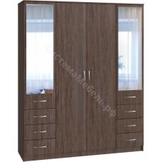 Шкаф 4-х дверный 6 ящиков с малыми зеркалами Вариант 1 - Сантана сокат