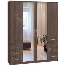 Шкаф 4-х дверный 6 ящиков с большими зеркалами Вариант 2 - Сантана Сокат