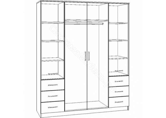 Шкаф 4-х дверный 6 ящиков с большими зеркалами - Ясень Шимо светлый