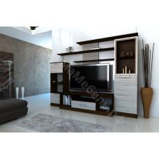 Стенка мебельная (гостиная)- 1 с 1 стеклом Ясень шимо/Венге