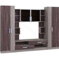 Стенка мебельная (гостиная) - 5 Ясень шимо/Ясень шимо темный