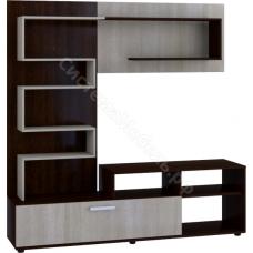 Стенка мебельная (гостиная) - 4 Дуб беленый/Венге