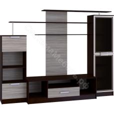 Стенка мебельная (гостиная) - 1 с 2-мя стеклами Ясень шимо/Венге