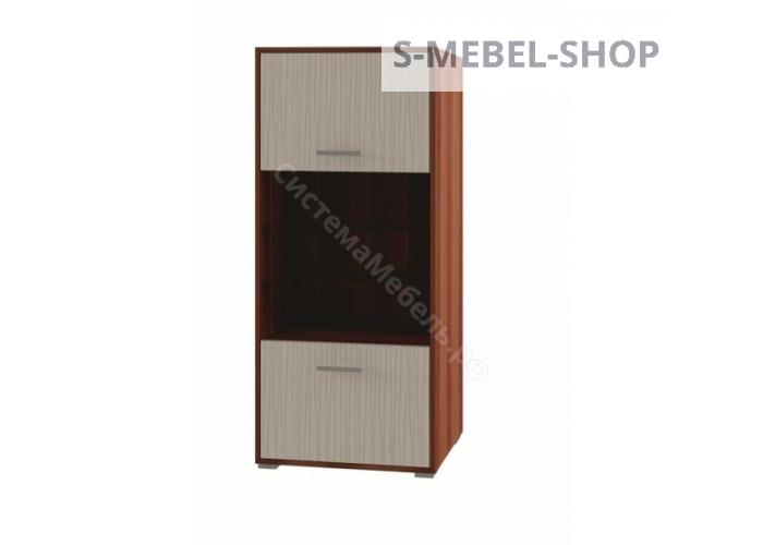 Гостиная Камелия - Комбинированный пенал. Дуб венге/белый дым МДФ глянец