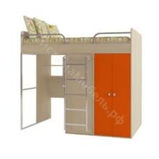 Кровать-чердак - Дуб молочный/оранжевый