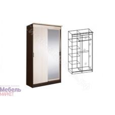 Шкаф-купе 2-х створчатый с 1-м зеркалом. Спальня Светлана - Венге/Дуб Молочный