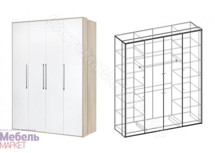 Модульная Спальня Интегро - Шкаф 4-х створчатый. Ясень Шимо светлый/Белый глянец фасад