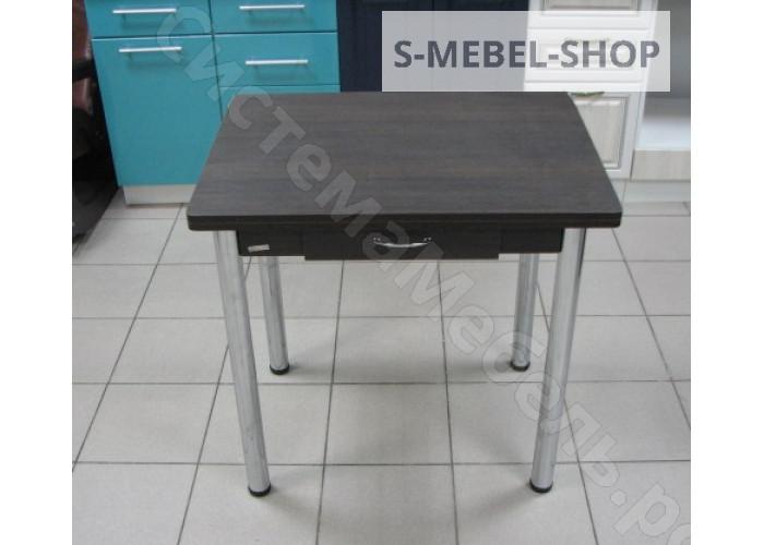 Стол ломберный поворотно-раскладной с ящиком, ножки хром - Венге