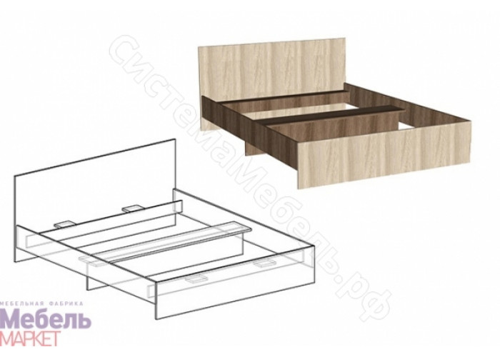 Спальня Светлана - Кровать с прямой спинкой 1600. Ясень Шимо Темный/Ясень Шимо Светлый