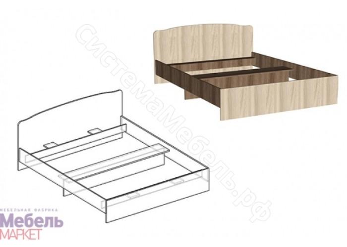 Спальня Светлана - Кровать с фигурной спинкой 800. Ясень Шимо Темный/Ясень Шимо Светлый