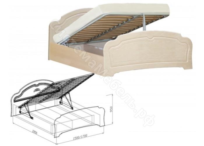 Спальня модульная Валенсия - Кровать с основанием 1,4 с подъемным механизмом.  Жемчуг глянец